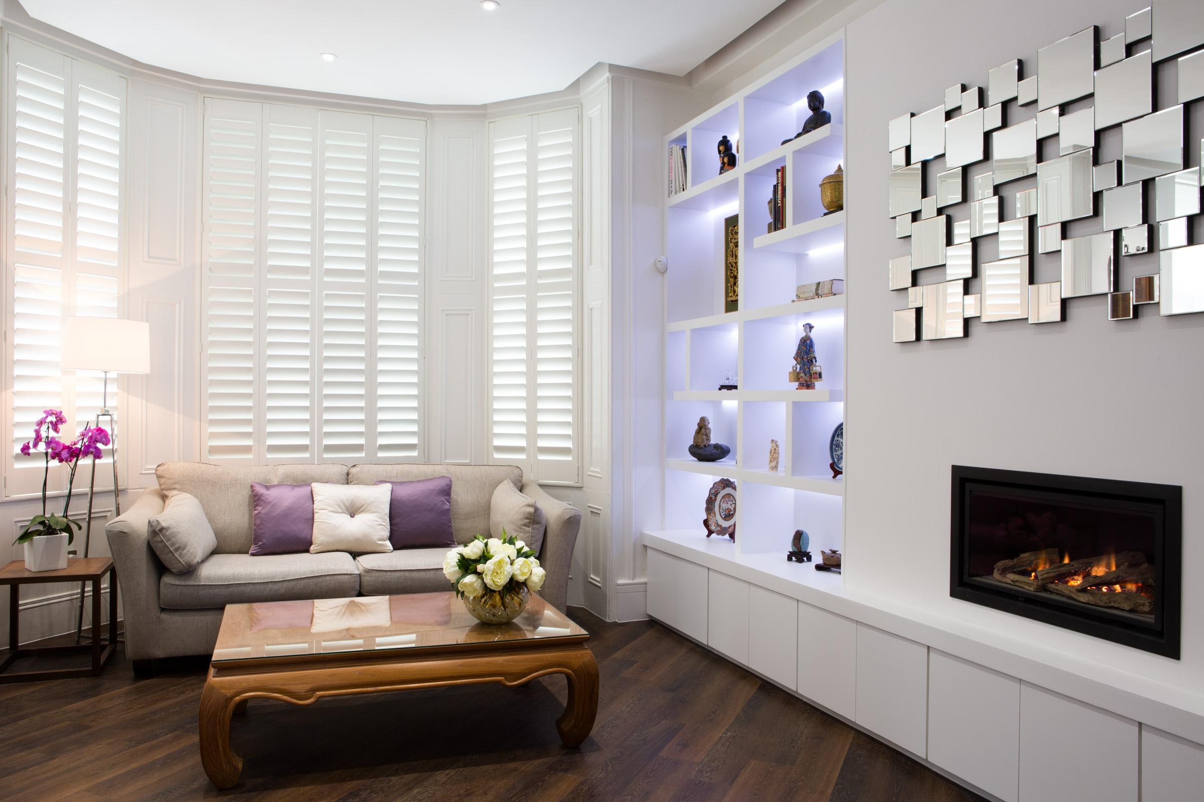 lounge interior design with shutters