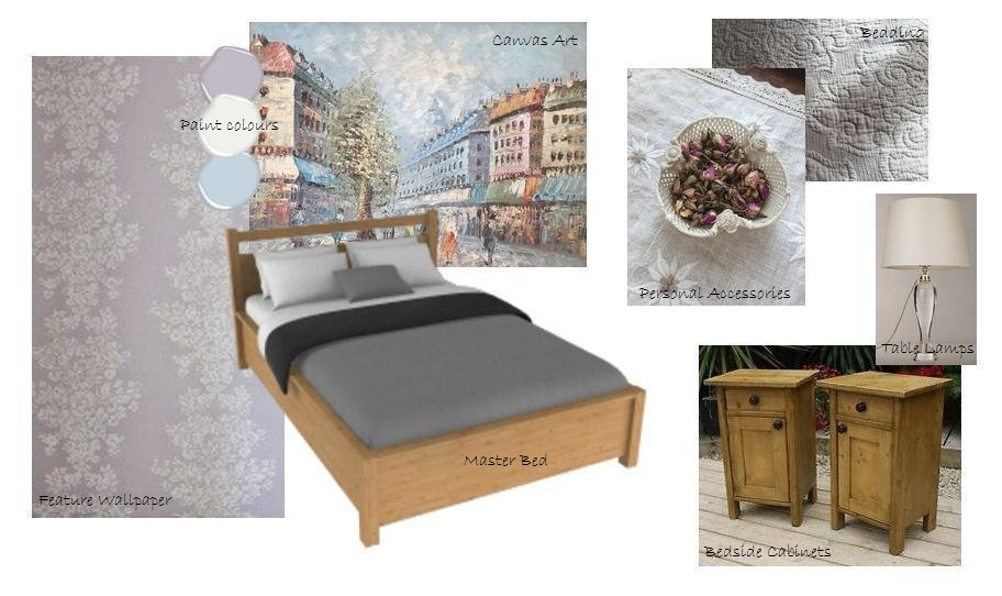 parisian romantic bedroom mood board